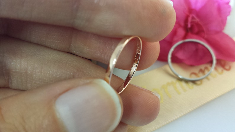 Top /& Inside Ring Engraving 1.5mm 14kt 18kt Platinum Palladium rose gold white gold yellow gold name date stackable mothers rings ring