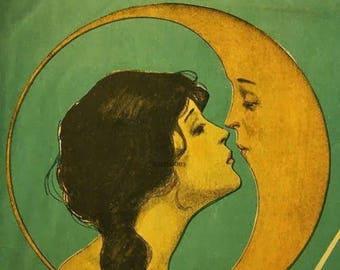 Antique Vintage Digital Wall Art Image Download Printable Woman Kissing the Moon