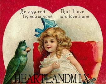 Vintage Valentine Postcard Instant Download Printable Art Image Greeting Card Ellen Clapsaddle