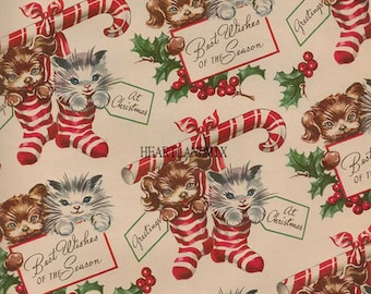 vintage christmas paper wallpaper digital image download printable kittens and puppies candy canes stockings 300 dpi - Vintage Christmas Wallpaper
