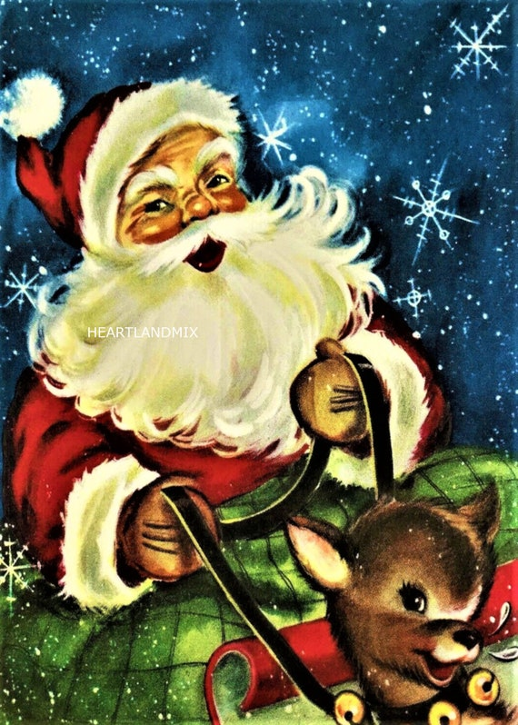 Kids Girls Reindeer Xmas Santa Wall Full Length Christmas Santa Father Leggings