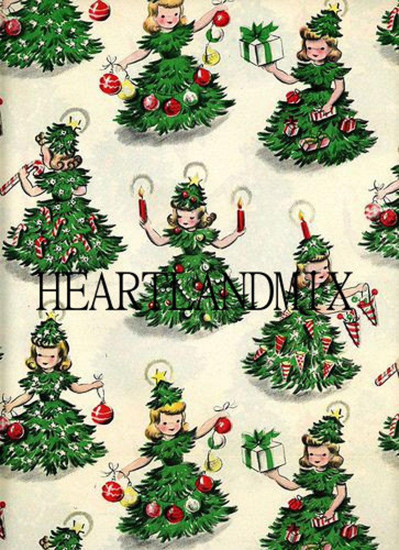 Vintage Christmas.Christmas Tree Girl Vintage Christmas Paper Digital Image Wallpaper Download Printable 300 Dpi