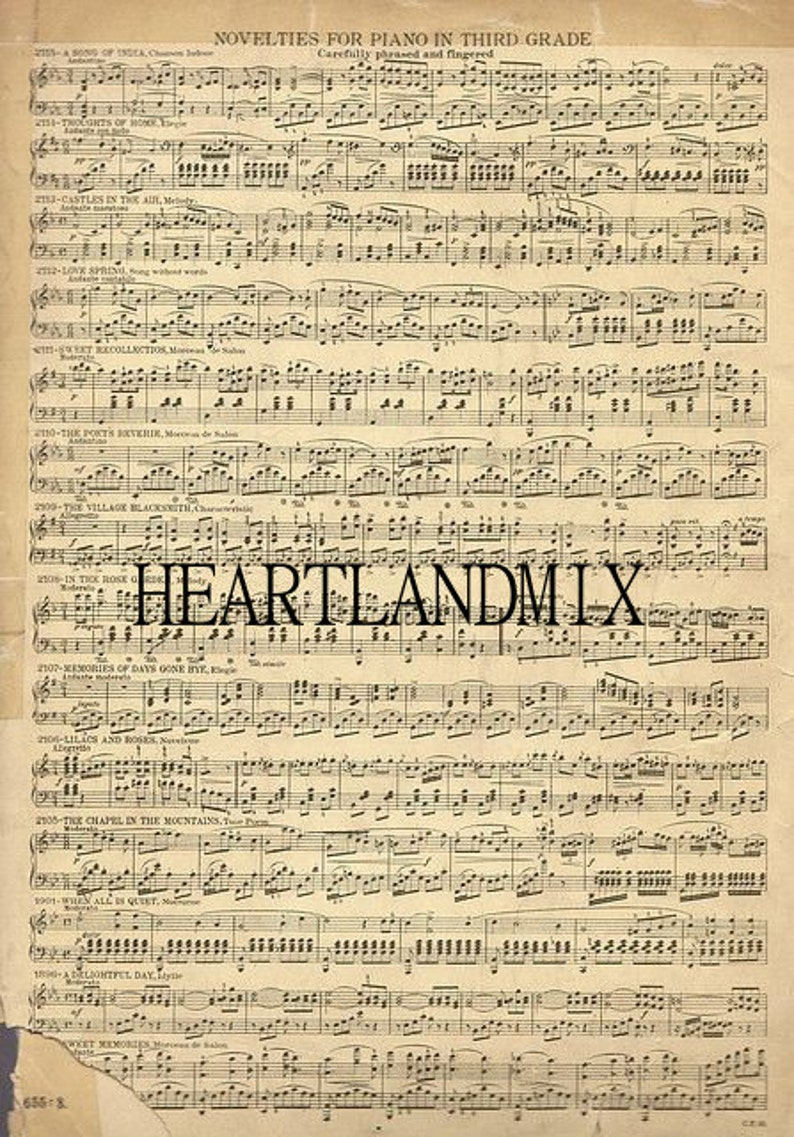Vintage Sheet Music Digital Image Download Printable image 0