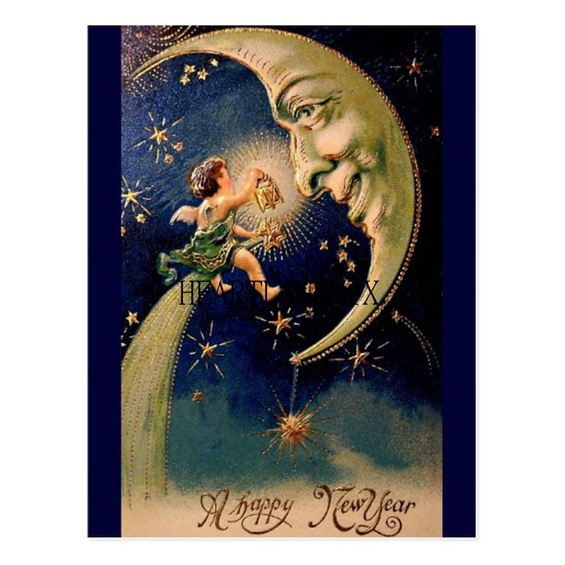 Victorian Antique Happy New Year Image Instant Download image 0