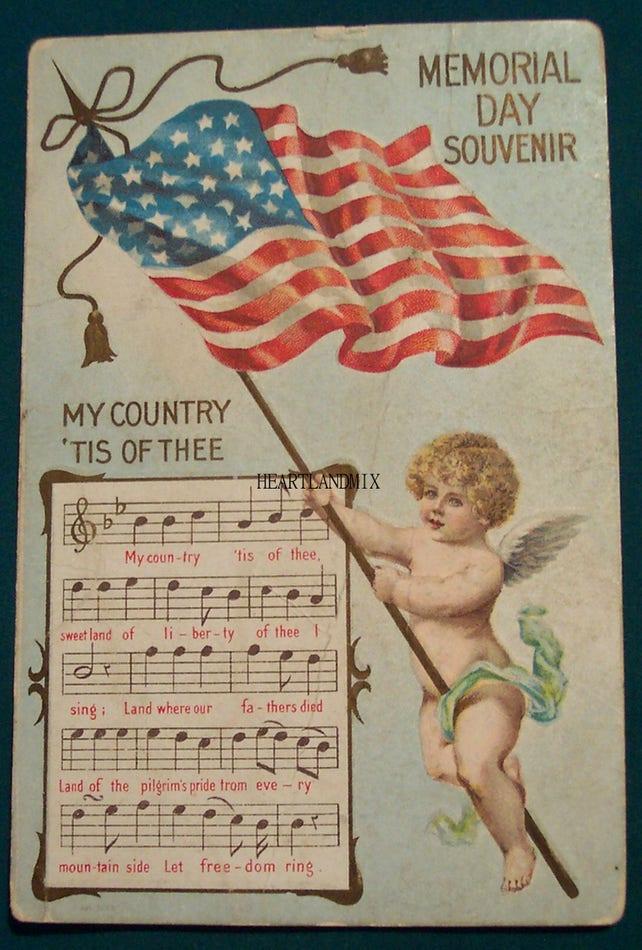 Memorial Day Vintage Digital Image Download Printable Illustration