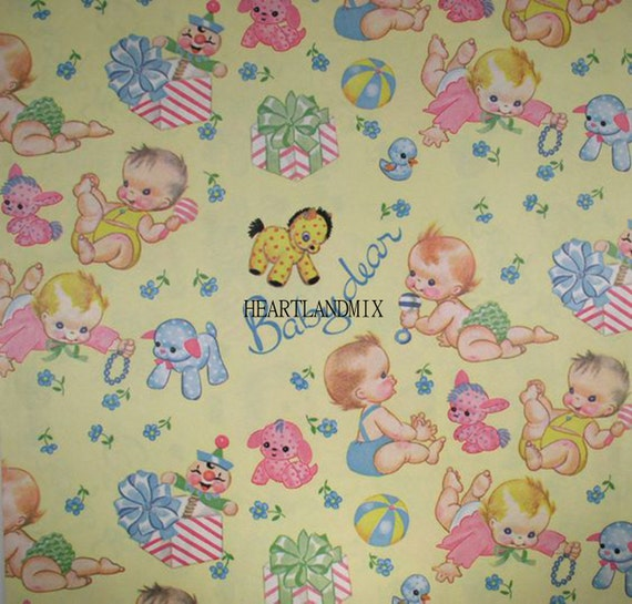 Vintage Baby Shower Wrapping Paper Digital Image Download Etsy