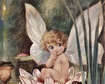 Vintage Fairy and Frogs Digital Download Printable Art Image 300 DPI