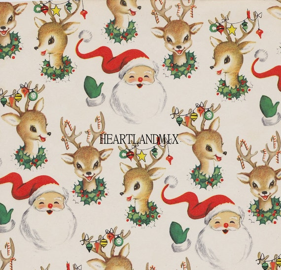 Vintage Christmas.Santa And Reindeer Vintage Christmas Paper Digital Image Wallpaper Download Printable 300 Dpi
