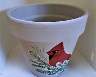 Hand Painted Flower Pot - Six Inch With Drip Saucer - Cardinal - Rose Design - Terracotta Planter