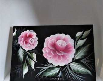 """Hand Painted Roses - 5""""x7"""" Black Canvas Panel - With Display Stand - Fast Shipping"""