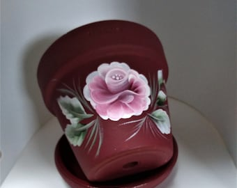 """Hand Painted Flower Pot - 4"""" With Drip Saucer - Small Terracotta Planter -"""