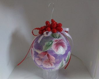 Hand Painted Ornament - Four Inch Styrofoam Ball - Christmas Decoration