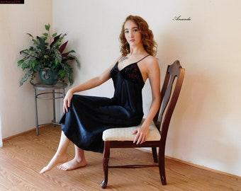 20242bbb6b Oscar De La Renta BLACk SATIN and Velvet Long NIGHTGOWN Nightdress Negligee  Sleepwear Maxi Night Gown Lingerie - M - L