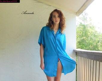 27c8bec85dc0e AQUA Blue SATIN Jacquard NIGHTSHIRT Sleep Shirt Night Wear Loungewear Sarah  Spencer sleepwear Lingerie - M