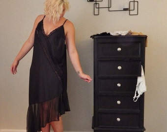 BLACK NYLON, Lace and Sheer Ruffle Long NIGHTGOWN Negligee Extra Large Plus Size Lingerie- 3X