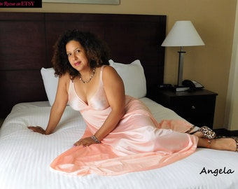 OLGA Princess PINK Nylon and Spandex Long Full Sweep NIGHTGOWN Gown Sleepwear Nightdress Negligee Style 92400 Lingerie - L