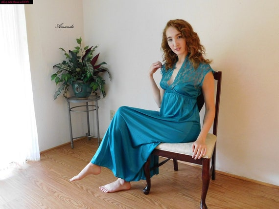 877d76bb25 Sea GREEN NYLON and Lace Long NIGHTGOWN Negligee Night Dress