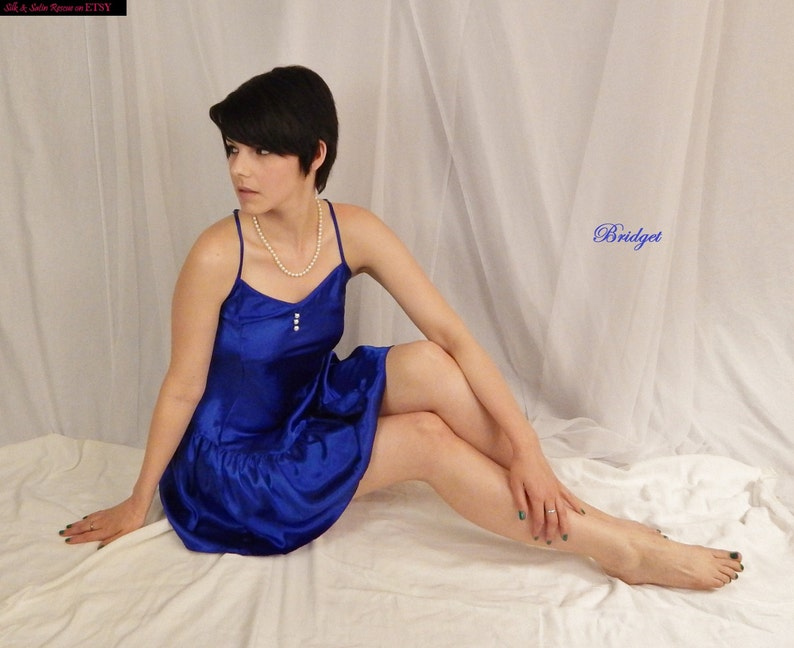 c5139f6e1f Vintage 80 s Royal Blue SATIN Short NIGHTY CHEMISE Slip