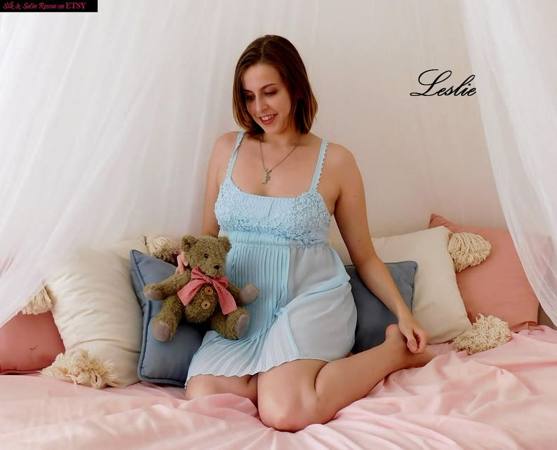 a82e553ea45 Cute Baby BLUE SHEER BABYDOLL Nighty Nightie Nightgown Ruffle