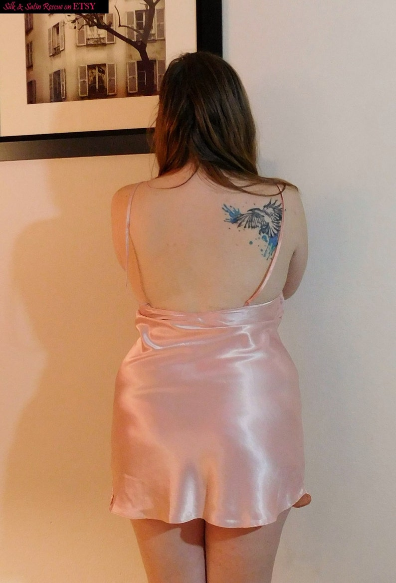 Pretty in PINK VIntage 80/'s Victoria/'s Secret Short SHEER and SATIN NIghty NIghtgown Nightie Slip Dessous Honeymoon Lingerie L