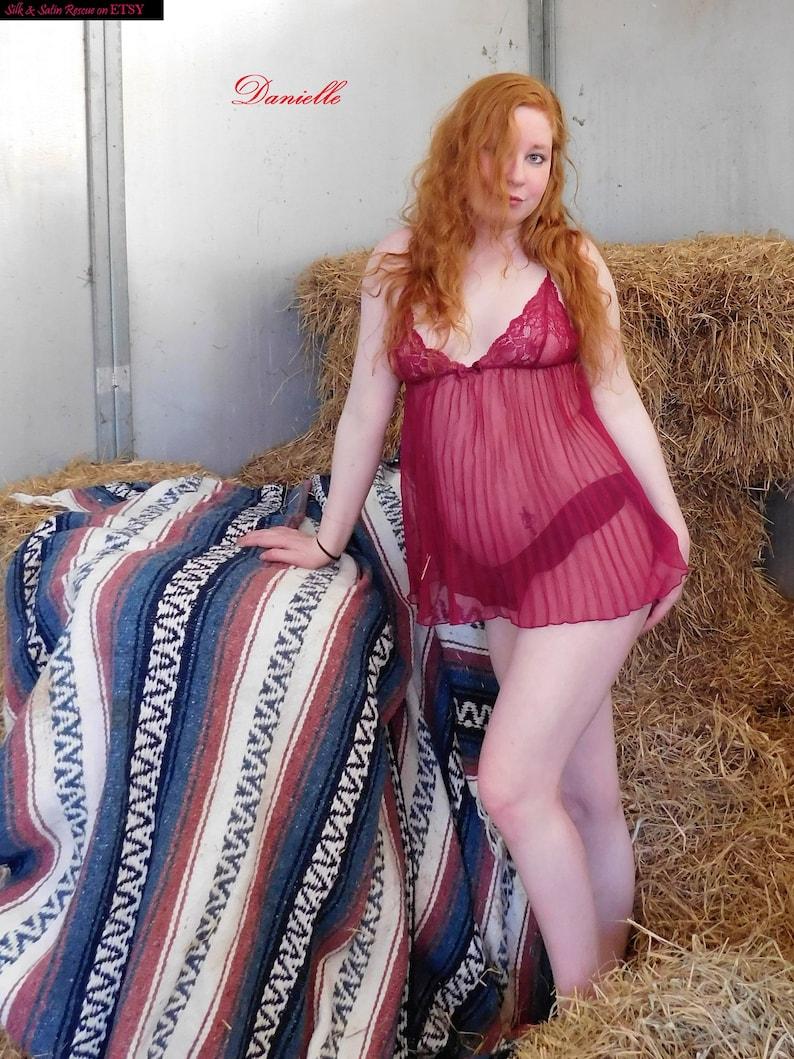 54529ba6e38 Victoria s Secret Wine Red Maroon SHEER BABYDOLL Nightie