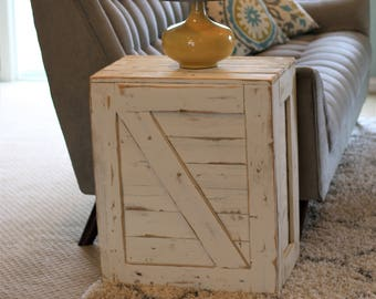 White Crate End Table