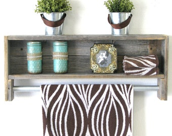 Reclaimed Towel Rack Shelf--3 Colors Available!!