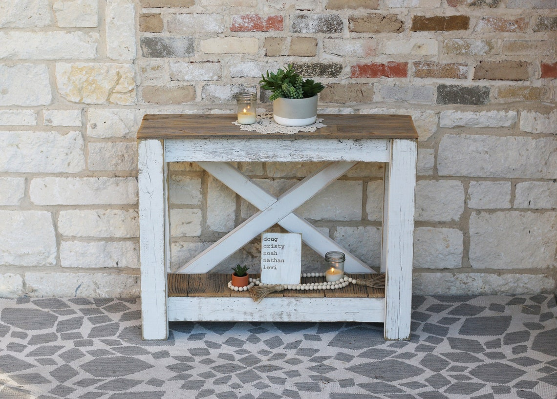 White Combo X Back Console Table