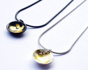 Gold Leaf Necklace, Keum- Boo necklace, disc necklace, Silver necklace, Gold necklace, 24 carat gold, bespoke necklace, oxidised necklace