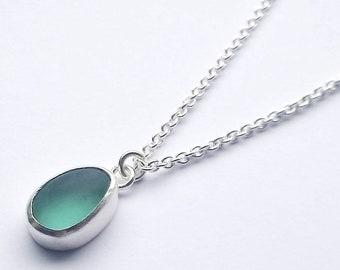 Small Seaglass Necklace, handmade necklace, Seaham Seaglass, pendant necklace, Seaglass necklace, Aqua sea glass, Blue seaglass,