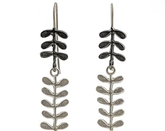 flower stem dangle earrings, long earrings,handmade earrings, silver earrings, oxidised earrings, flower earrings, leaf earrings,