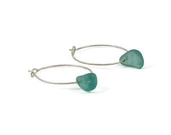 Sea Glass Hoop Earrings