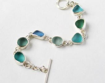 Small Sea glass Bracelet, Blue sea glass Bracelet, green Sea glass bracelet, Sea glass, Handmade bracelet, Silver bracelet,