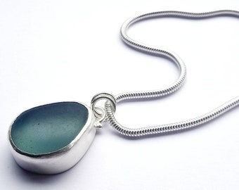 Big Sea Glass Necklace, silver necklace, Sea glass jewellery, statement necklace, large necklace, blue sea glass necklace, handmade necklace