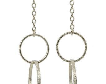 Silver Chain Earrings, dangle earrings, long earrings, hoop earrings, handmade earrings, silver hoop earrings, chain earrings