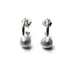 Small Sea Urchin Hoop Earrings, sea urchin jewellery, shell jewellery, silver hoops, handmade hoops, tiny hoops, small hoops, shell hoops.