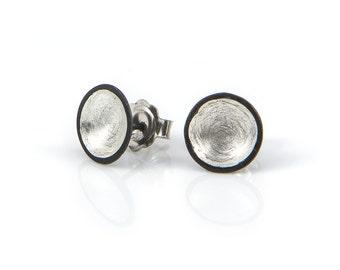 Oxidised & Silver domed studs, oxidised studs, silver studs, handmade studs, statement studs, small studs, tiny studs,