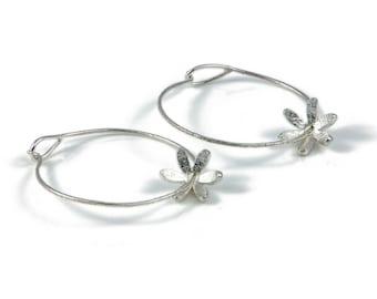 Daisy Silver Hoop Earrings, Silver hoops, Flower hoops, hammered hoops. handmade earrings, Light weight hoops, gypsy hoop earrings,