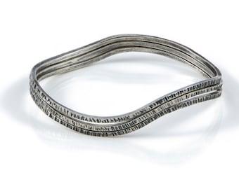 Wave bangle, Stacking bangle, oxidised bangle, Silver stacking bangle, textured bangle, three bangles, joined bangles, set of bangles,
