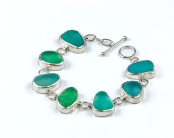 Chunky Sea Glass Bracelet. Sea Glass, Green sea glass Bracelet, Aqua Sea glass Bracelet, Silver Sea Glass Bracelet, Hand Made Bracelet.