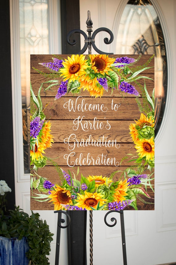Large printable jpg file 16x20 24x30 Class of 2019 Graduation Party Welcome Printable Sign SF102 Sunflower theme Grad Party