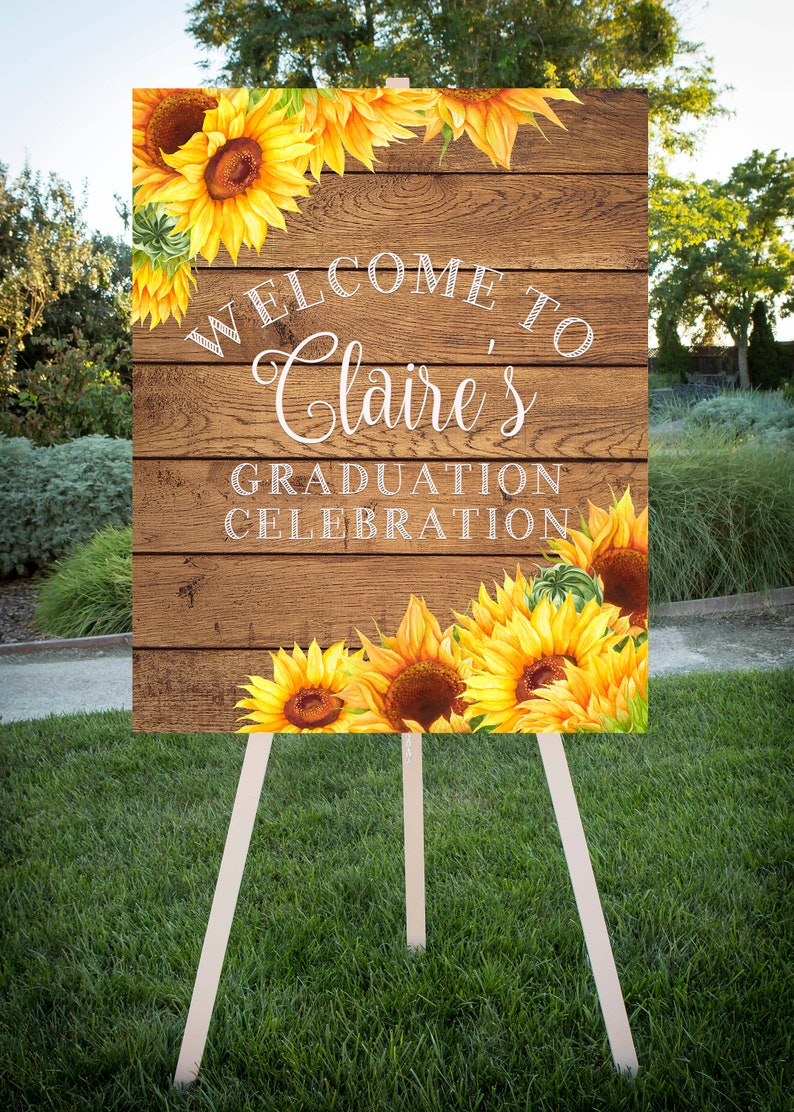 Printable Sign Sunflower theme Large printable jpg file Class of 2019 Graduation Party Welcome 24x30 Grad Party SF102 16x20