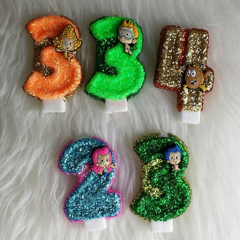 Bubble guppies glitter birthday number candle comes in any ...