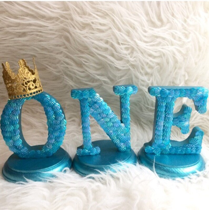 Baby/'s first birthday little mermaid one wood center pieces with a princess lace crown