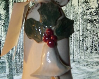 "The"" Winter Pottery Bell"" Ivory Holly Berry Bell with Clapper from the Piney Woods Regions. Glorious!"