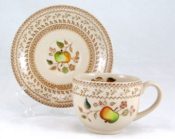 Johnson Brothers FRUIT SAMPLER (OLDER) Footed Cup and Saucer Set 2.625 in. Apple
