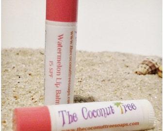 Watermelon Flavor Lip Balm // All Natural Lip Balm // Coconut Oil /Shea Butter / Cocoa Butter / SPF Lip Balm