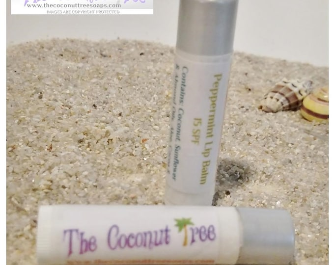 Peppermint Flavor Lip Balm / All Natural Lip Balm / Coconut Oil / Shea Butter / Cocoa Butter / SPF Lip Balm / No Animal by products