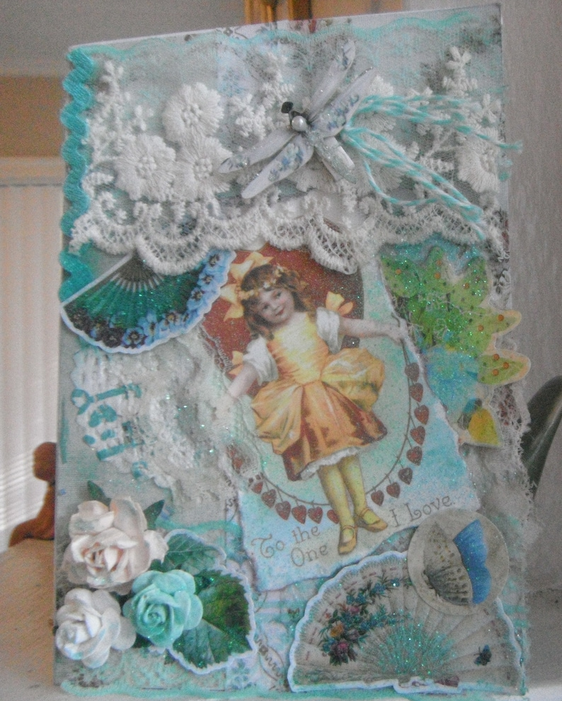 Mixed Media 3D Vintage Valentines Card with in Mint Green with LacesdeagonflyPaper RosesBirthdayAnniversary Card