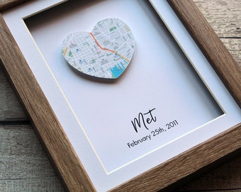 One Heart Map Print Personalised First Anniversary Gift For Him Boyfriend 1st